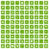 100 snow icons set grunge green Stock Photo