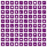 100 snow icons set grunge purple. 100 snow icons set in grunge style purple color isolated on white background vector illustration Stock Image