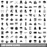 100 snow icons set, simple style Royalty Free Stock Photography