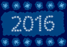 Snow inscription 2016. Illustration with an inscription 2016 made of snowflakes Stock Photo