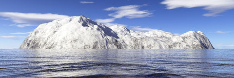 Snow island. Snowy island in atlantic. View from the boat Royalty Free Stock Images