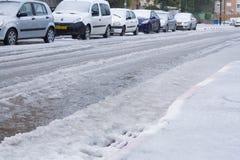 Snow in Israel. 2013. RAMLA , ISRAEL - DECEMBER 13 , 2013 : Israeli street covered with snow stock image