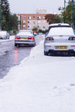 Snow in Israel. 2013. RAMLA , ISRAEL - DECEMBER 13 , 2013 : Israeli street covered with snow Royalty Free Stock Photography