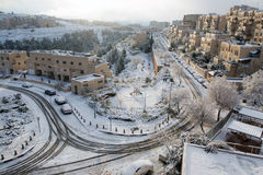 Snow in Jerusalem Stock Images