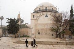 Snow in Jerusalem Royalty Free Stock Image