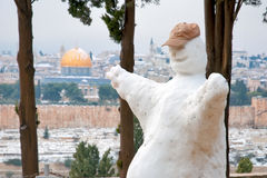 Snow in Jerusalem. Snowman pas Mount of Olives Royalty Free Stock Photos