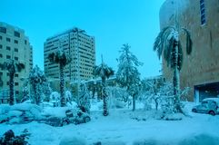Snow in Jerusalem. Snowy City after a Snow Storm. Winter Weather in Israel royalty free stock image