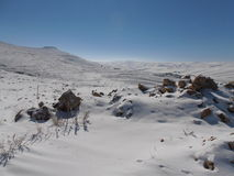 Snow. In Jordan in the Middle East Royalty Free Stock Images