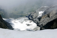 Snow between jungfrau and Monch peaks from Jungfraujoch Sphinx Observatory Stock Photography