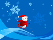 Snow kid skiing in winter. Illustration of lovely snow man skiing in xmas holiday Stock Image