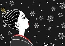Snow and a kimono girl. Snow and a beautiful kimono girl vector illustration