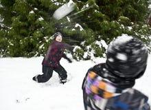 Snow klumpa ihop sig slagsmål Arkivbild