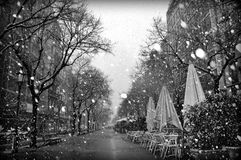 Snow in La Ramblas Stock Photography