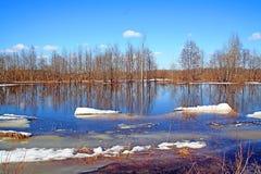Snow on lake Stock Photos
