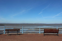 Snow on Lake District hills across Morecambe Bay Royalty Free Stock Photo