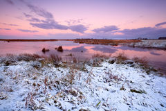 Snow by lake at sunrise Royalty Free Stock Photo