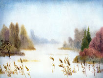 Snow Lake. Watercolor landscape. Snow Lake wrapped crude quiet mist royalty free illustration