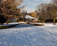 Snow landscape. New River Loop, Enfield, Middlesex UK  Snow Scene Stock Photos