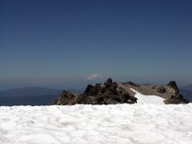 Snow Landscape. View from top of volcano Mt. Lassen at landscape Stock Images