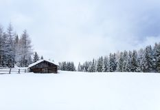 Snow Landscape And Wooden Cabin Winter Background Stock Image