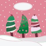 Snow landscape background with christmas trees Royalty Free Stock Photos