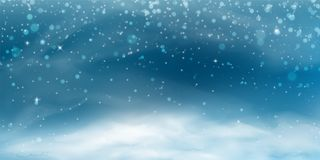 Snow landscape banner. Winter christmas landscape with cold sky, blizzard, snowflakes, snowdrift in realistic style. Vector illustration Stock Photos