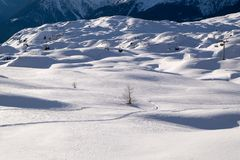 Snow landscape and chair lift Royalty Free Stock Photo