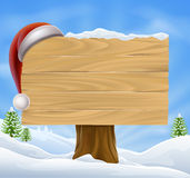 Snow Landscape Christmas Santa Hat Sign Stock Image