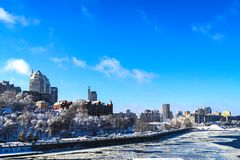 Snow landscape of the Dnipro city. View of the buildings, skyscrapers, Dnieper river and towers in winter, Ukraine,. Dnepropetrovsk, Dnepr, Dnipropetrovsk stock image