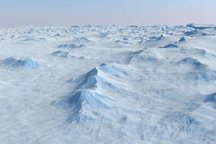Snow landscape, ice valley with mountains. Arctic view. 3d render Stock Photo