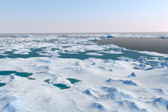 Snow landscape, ice valley with mountains. Arctic view. 3d render Royalty Free Stock Photo