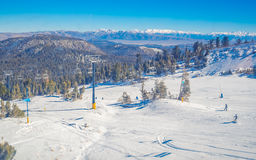Snow landscape on Mammoth Mountain in California, US . Stock Images