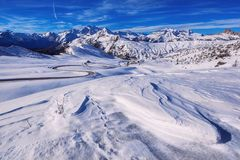 Snow landscape of Passo Giau, Dolomites, Italy Royalty Free Stock Images