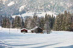 Snow landscape rural living. A farm nestled in the snow-covered winter landscape of the alpine upland in Allgäu, Germany Stock Image