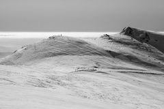 Snow landscape and ski slope. Wintertime skislope landscape in the Romanian mountaines Royalty Free Stock Photography