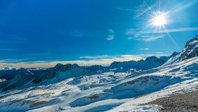 Snow Landscape With Steep Mountain stock photos