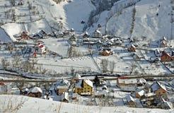 Snow landscape village Stock Photography
