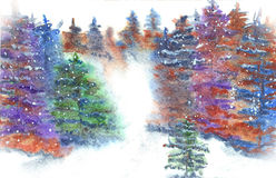 Snow Landscape Watercolor. Snowy landscape of spruce trees watercolor painting Stock Photos