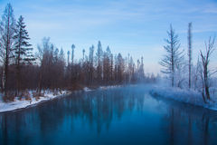 Snow landscpe. The river in winter in the morning Stock Photography