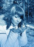 Snow lass. Snowflakes Royalty Free Stock Photography
