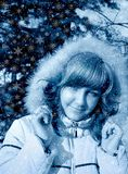 Snow lass. Snowflakes Stock Photos