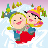 Snow led. Two children running on snow led stock illustration