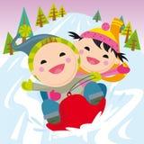 Snow led. Two children running on snow led Stock Image