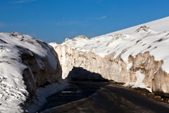 Snow on Leh - Manali Highway, India. Snow at Rothang La Pass on the road Manali - Leh in Ladakh, Jammu and Kashmir state, India Stock Images