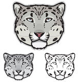 Snow Leopard Faces. Illustration of snow leopard faces in color, grayscale and black and white Royalty Free Stock Photo
