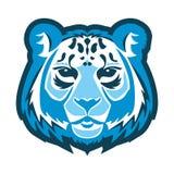 Snow leopard logo mascot. Snow leopard head isolated vector illustration Royalty Free Stock Photos