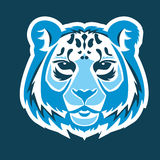 Snow leopard logo mascot. Snow leopard head isolated vector illustration Royalty Free Stock Images