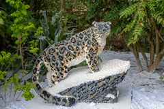 A Snow Leopard statue made from Lego bricks. CHESTER, UNITED KINGDOM - MARCH 27TH 2019: A Snow Leopard statue made from Lego bricks royalty free stock image