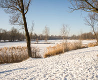 Snow lies on a frozen lake. In Bavaria,Germany after freezing temperatures stock photos