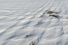 Snow like waves frozen from the winter winds. Royalty Free Stock Photo